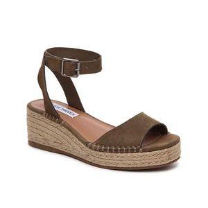 STEVE MADDEN Olive Green Elody Sandal Wedges